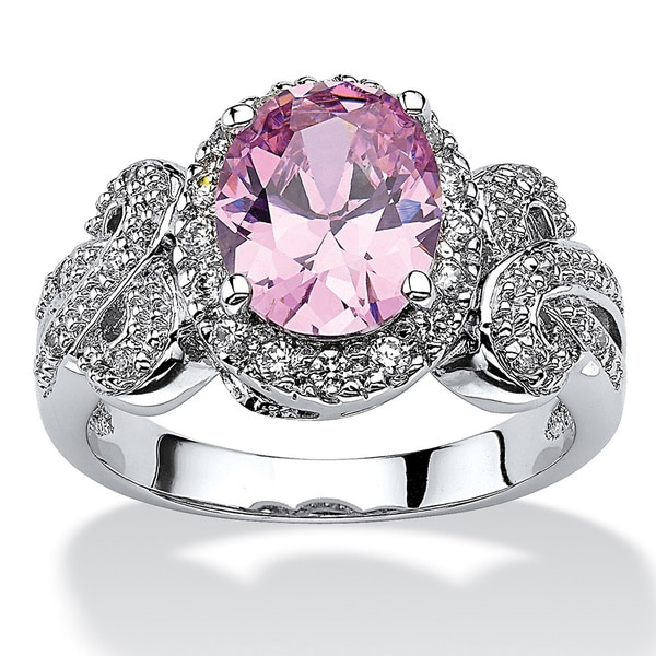 2.78 TCW Oval-Cut Pink Cubic Zirconia Bow Ring in Silvertone Color Fun