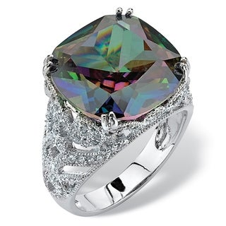 Platinum-plated Mystic Fire Cubic Zirconia Ring - Multi/White (4 options available)