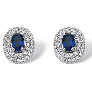2.96 TCW Oval-Cut Lab Created Sapphire Double Halo Earrings in Platinum over Sterling Silv