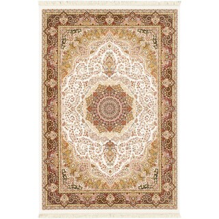 King David 400 Lines White Handspun Rayon from Bamboo Silk Medallion Corners Rug