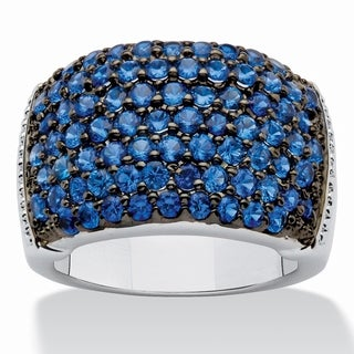 PalmBeach Round Deep Sea Blue Spinel Ring in Silvertone