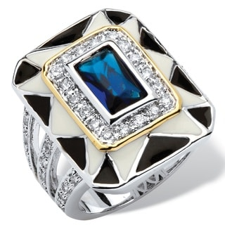 PalmBeach 2.38 TCW Emerald-Cut Blue Crystal Art Deco Style Ring in Silvertone Color Fun