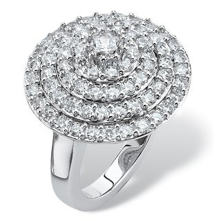 2.13 TCW Round Cubic Zirconia Concentric Circle Ring in Silvertone Classic CZ