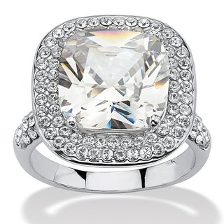 3.80 TCW Cushion Cut Cubic Zirconia Double Halo Ring in Platinum Plated Glam CZ