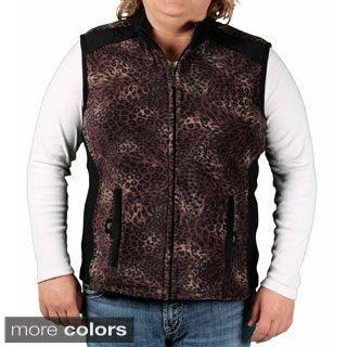 Jane Ashley Women's Plus Printed Fleece Vest