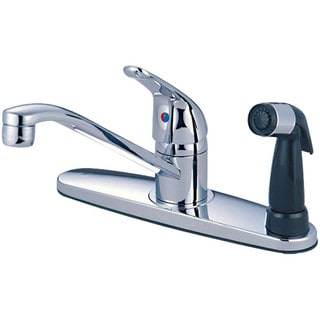 Olympia Series K-4163 Elite Single Handle Chrome Kitchen Faucet with Black Side Spray Assembly on Deck