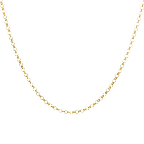 Roberto Martinez Yellow Gold Plated Silver 1.5 mm Rolo Chain Necklace (16-20 Inch)