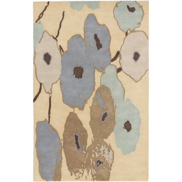 Abstract Art Khaki Flowers Rug - 5' x 8'
