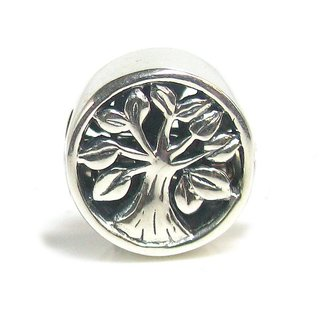 Queenberry Sterling Silver Tree Of Life Go Round Family European Bead Charm