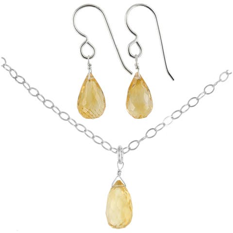 Citrine Gemstone Handmade Sterling Silver Earrings and Necklace Set