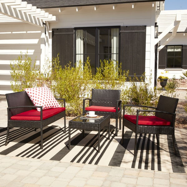 The Hom Teaset 4 Piece Patio Conversation Set With Red Cushions