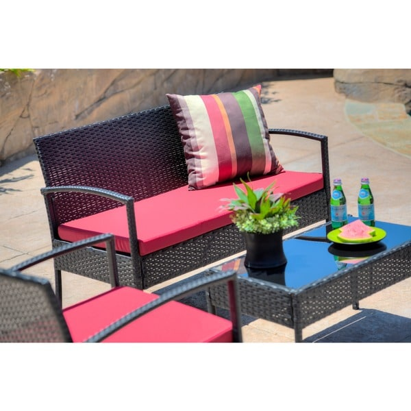 The Hom Teaset 4 Piece Patio Conversation Set With Red Cushions   Free  Shipping Today   Overstock.com   16803088