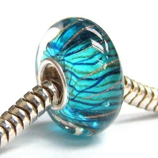 Queenberry Sterling Silver Aqua Blue Gold Wave Stripe Swirl Glass European Bead Charm