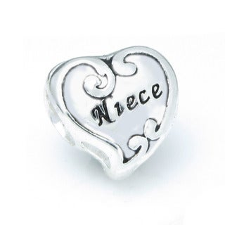 Queenberry Sterling Silver Niece Heart European Bead Charm