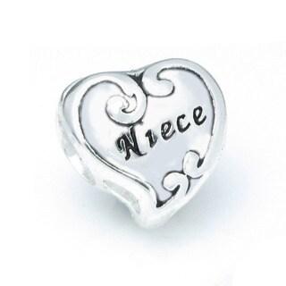 Queenberry Sterling Silver Niece Heart European Bead Charm