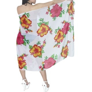La Leela Floral White Yellow Printed Sheer Chiffon Swim Hawaiian Sarong Cover-up