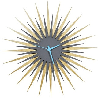 Modern Crowd Atomic Era Clock in Maple and Grey