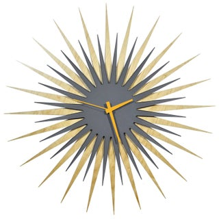 Modern Crowd Atomic Era Clock in Maple and Grey (Option: Orange)