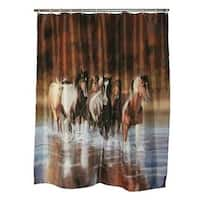 River's Edge Products Charging Horses Shower Curtain