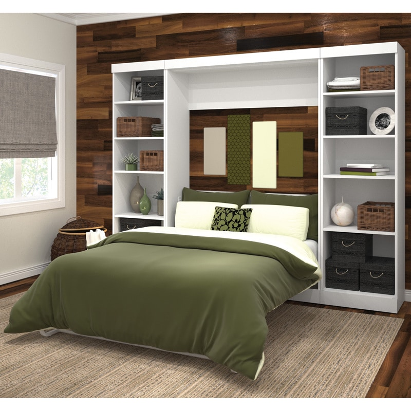 Pur by Bestar Full Wall Bed with Two Storage Units (White)