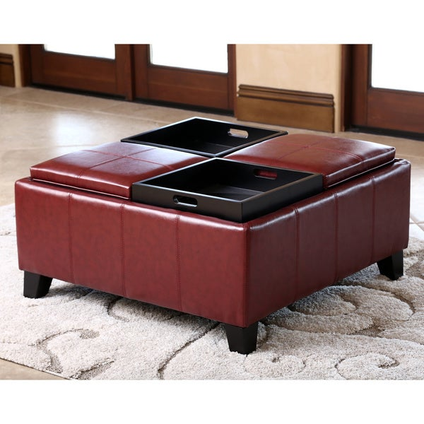 Abbyson Vincent Red Leather Square Ottoman With 4 Trays