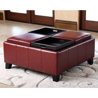 Abbyson Vincent Red Leather Square Ottoman with 4 Trays (Option: Red)