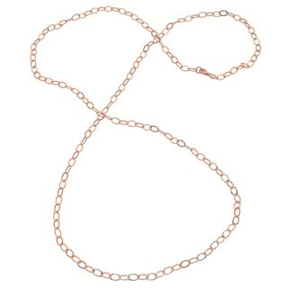 Sterling Essentials Rose Goldplated Silver Hammered Oval Link Necklace