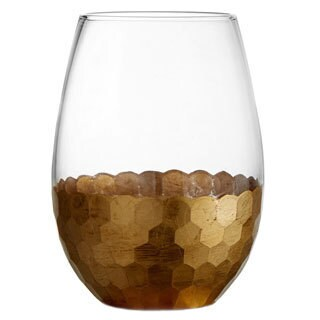 Fitz and Floyd Daphne 20-ounce Gold Stemless Glasses (Set of 4)