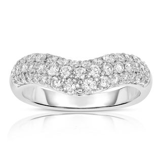 Eloquence 14k White Gold 1ct TDW Curved Diamond Band (H-I, I1-I2)