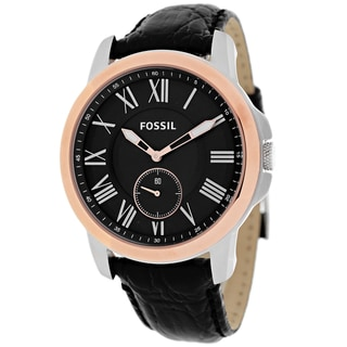 Fossil Men's FS4943 Grant Round Black Strap Watch
