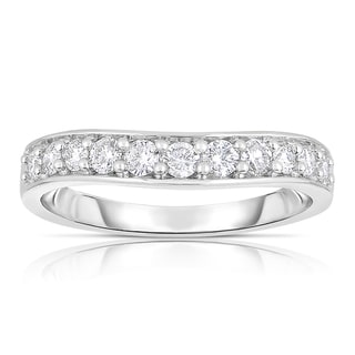 Eloquence 14k White Gold 1/2ct TDW Curved Diamond Band (H-I, I1-I2)
