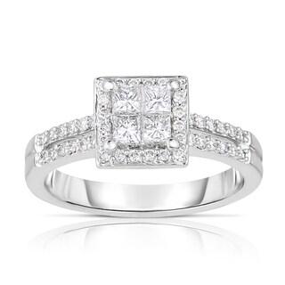 Eloquence 14k White Gold 5/8ct TDW Halo Diamond Engagement Ring (H-I, I1-I2)