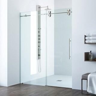 VIGO Elan 52-inch Frameless Shower Door .375-in. Clear Glass/Stainless Steel Hardware