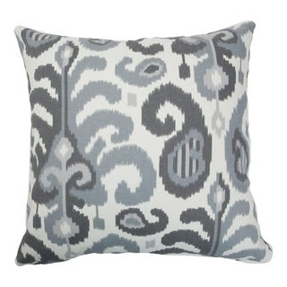 Scebbi Ikat Down Fill Steel Throw Pillow