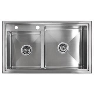 Golden Vantage Stainless Steel 33-inch Double Bowl Topmount Kitchen Sink