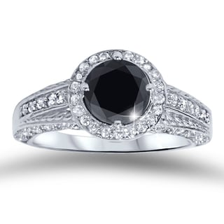 14k White Gold 1 1/4ct TDW Black and White Diamond Engagement Ring