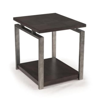 Alton Contemporary Charcoal Wood and Metal End Table