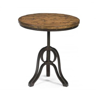 Cranfill Industrial Aged Pine Round End Table With Adjustable Swivel Top