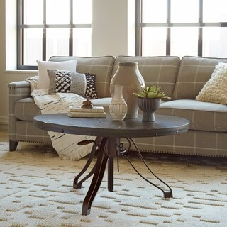 Magnussen Home Furnishings Cranfill Aged Pine Wood and Metal Industrial Adjustable Crank Round Coffee Table