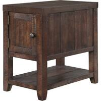 Caitlyn Rustic Distressed Natural Chairside Storage End Table
