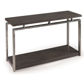 Alton Contemporary Charcoal Wood and Metal Console Table