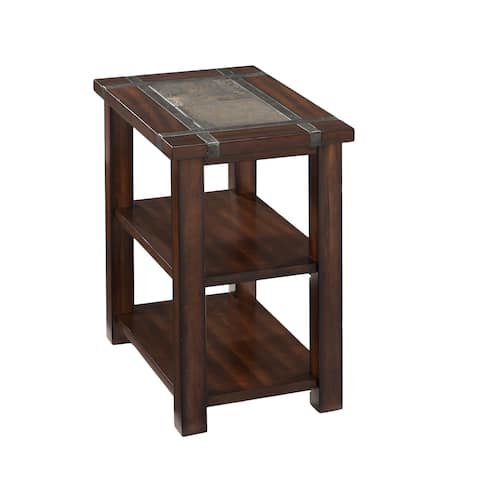 Roanoke Trasitional Rustic Cherry Chairside End Table with Slate Top