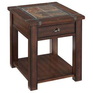 Roanoke Trasitional Rustic Cherry End Table With Slate
