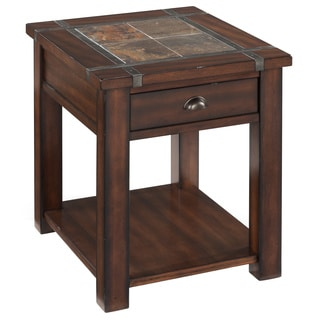 Roanoke Trasitional Rustic Cherry End Table with Slate Top