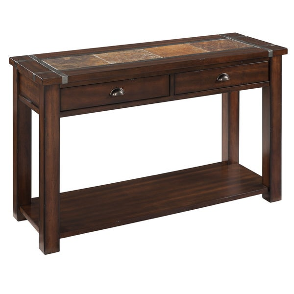 Roanoke Trasitional Rustic Cherry Storage Console Table With Slate Top