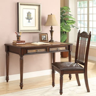 Coaster Cherry/ Coffee 2-piece Solid Wood Desk and Chair Set