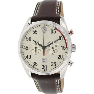 Ferrari Men's 0830174 Brown leather Quartz Watch with Beige Dial