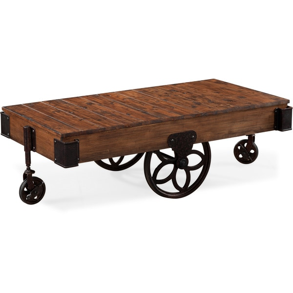 Larkin Rustic Natural Pine Coffee Table With Casters