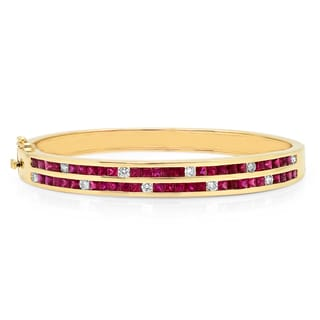 14k Yellow Gold 3/4ct TDW Diamond and Ruby Bracelet (F-G, VS1-VS2)