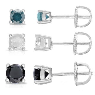 Finesque Sterling Silver 3-pair Diamond Stud Earring Set